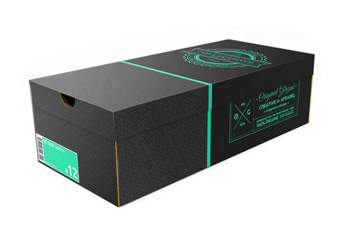 Luxury Shoes Box Packaging Black Corrugated Paper Cardboard Material UV Coating